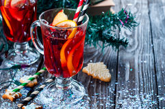 Spices and mulled wine. Cookies in the shape of stars, spices and mulled wine Stock Photos