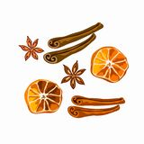 Spices for mulled wine and gingerbread isolated royalty free illustration