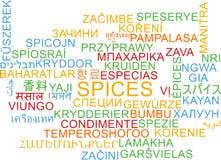 Spices multilanguage wordcloud background concept Stock Images