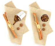 Spices on natural linen table cloth Royalty Free Stock Images