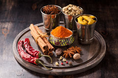 Spices Nutmeg, cardamom, cinnamon, hot chili, star anise, turmeric Stock Image