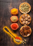 Spices nutmeg, turmeric, paprika, cardamom, star anise Stock Photos