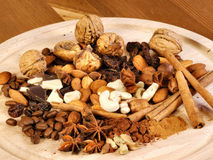 Spices, nuts, coffee and cinnamon Stock Photo