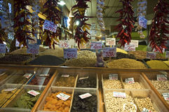 Spices, nuts and dried fruits in a Budapest Market Stock Photography