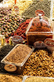 Spices, nuts and other snacks Stock Images