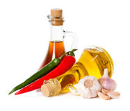 Spices and oil, pepper chili Royalty Free Stock Photos