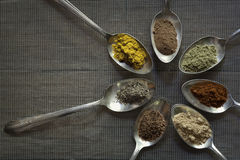Spices in Old Silver Spoons Stock Photo