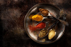 Spices in old spoons Stock Photos