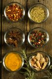 Spices on an old table Royalty Free Stock Photo