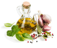 Spices and olive oil Royalty Free Stock Photo