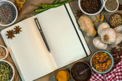 Spices - Open Recipe Book - Space for Text Stock Photos