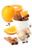 Spices and oranges Stock Photos