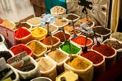 Spices at outdoor market. Royalty Free Stock Images