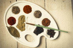 Spices on the paint pallet Royalty Free Stock Photo