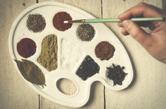 Spices on the paint pallet on wood. Royalty Free Stock Photo