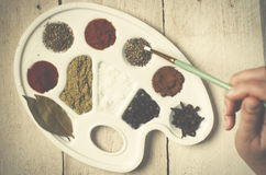 Spices on the paint pallet on wood. Royalty Free Stock Photos