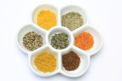 Spices in a palette stock photography