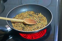 Spice seeds in pan ready to dry dry fry or roast. royalty free stock photo