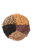 Spices for Panch Phoron. Isolated ingredients for Panch Phoron which is an Indian spice blend and which is made in equal measure from fennel seed, cumin seed Stock Images