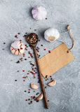 Spices and paper tag Royalty Free Stock Photo