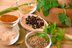 Spices with pestle and mortar Stock Photo