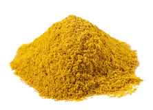 Spices - pile of Hot madras curry over white Stock Photo