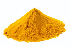 Spices - pile of Yellow Turmeric over white Stock Photos