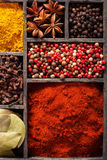 Spices pink black pepper, ground paprika, curry Stock Photos