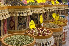 Spices in pots for sale - Kemer, Turkey royalty free stock photography