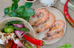 Spices and prawn Stock Image