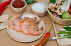 Spices and prawn Stock Images