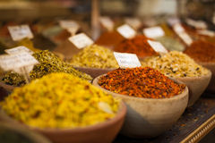Spices with prices. In old market in jerusalem Stock Photography