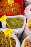 Spices, pulses and seeds at market in Jerusalem. Sacks of spices, pulses and seeds at Machane Yehuda market in Jerusalem, Israel Royalty Free Stock Images