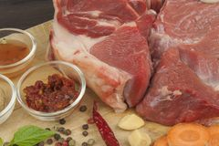 Spices and raw beef shank on the cutting board. Preparing spicy food. Decorations for the menu. Stock Images