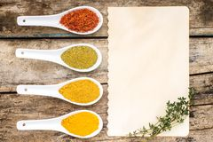 Spices recipe background. Royalty Free Stock Photography