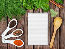 Spices recipe background. Royalty Free Stock Images