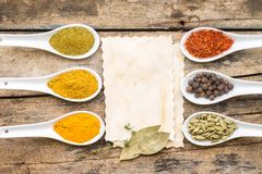Spices recipe background. Stock Photography