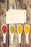 Spices recipe background. Stock Photos