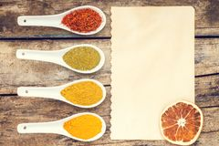Spices recipe background. Stock Images