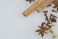 Spices. Right corner border of spices including cinnamon, cloves, coriander and anise Stock Photos