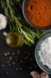 Spices, rosemary, allspice, garlic, oil and salt Royalty Free Stock Images