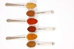 Spices In A Row. Six different ground spice powders in silver spoons on a white background Royalty Free Stock Photography