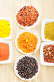 Spices in a rows on mat Royalty Free Stock Images