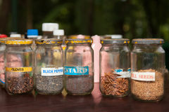 Spices in rustic style. Spices in old glass jars in a village in the jungle Royalty Free Stock Photos