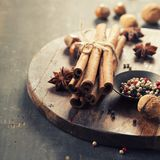Spices on rustic table Stock Photos