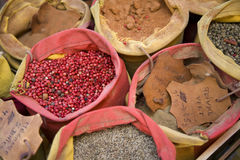 Spices in sacks Stock Photos