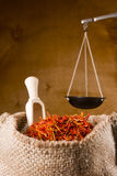 Spices saffron in a bag Royalty Free Stock Image