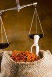 Spices saffron in a bag Stock Images