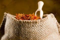 Spices saffron in a bag Royalty Free Stock Photos
