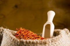 Spices saffron in a bag Stock Photos